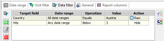 Log2Stats report data filters