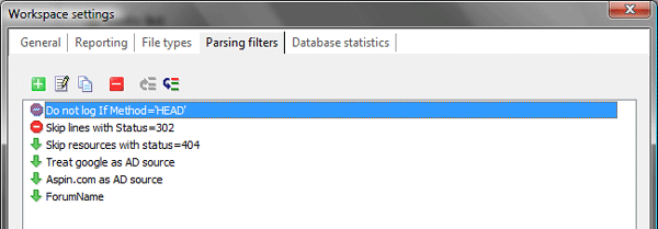 Log2Stats workspace settings - Parsing filters