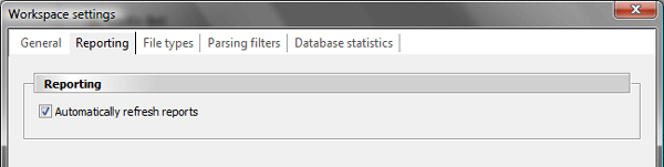 Log2Stats workspace settings - Reporting settings